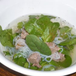Spinach and chicken noodles